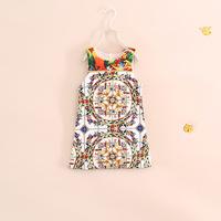 autumn new arrival fashion brand design little girl sleeveless floral bohemian dress