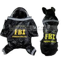 Fashion Pet Dog Clothes USA FBI Raincoat With Hoodie, Dog Cat Costume Free Shipping