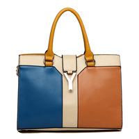 2014 new handbags wholesale European American trends Y word buckle mixed colors patchwork handbag Messenger bag lady tote bag