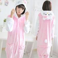 Flannel Kitty cat one-piece sleepwear cartoon long women girl nightgown autumn winter