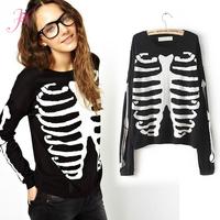 Womens Tops Fashion 2014 Autumn Blouse Rep Long Sleeve O Neck Bones Print  Casual Blouse Brand  Big Size Plus Size