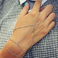 2pcs Retro Women Fashion Simple Silver Chain Bracelet Finger Ring Slave Hand Harness