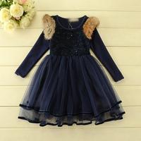 2014 New,girls princess dress,children autumn winter dress,long sleeve,sequins,pink/blue,5 pcs/lot,wholesale,1814