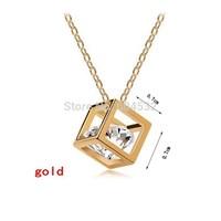 Wholesale Gold Boutique Gift Vivid Rhinestone inside exquisite Cube Geometric Choker Bib Statement Pendant Necklace earring Sets