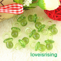 New Arrival-200pcs 22mm*11mm Light Green Color Mini Acrylic Baby Pacifier For Baby Shower Favors~Cute Charms~Party Decorations