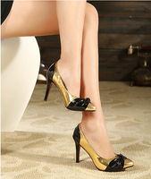 High Pump 2014 New  Korea Style High 8 to 10 cm Cute Sweet  Hot Sale All Match Color Gold Bowknot  Pointed Toe