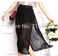 Women's Summer Skirts All-match Skirts Side Vent Chiffon Skirts 1306