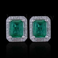 Women New Fashion Jewelry Emerald Cut 5x7mm 14kt White Gold Diamond Emerald Earrings E53