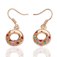 free shipping 18 K gold plated earrings Genuine Austrian crystals earrings,Nickle free antiallergic factory price E021