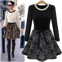 2014 Women Autumn European Elegant A-line Patchwork Embroidery OL Long Sleeve Dress Ladies Winter Dresses Plus size S-XL