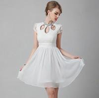 Korean Style Bridesmaid Costume Ladies White Dress Women Evening Dress Beautiful Evening Dress