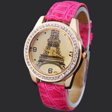 New Hot Pink Eiffel Tower Lady Girls Women's Jewelry Diamond Xmas Gifts Hours Quartz Clocks Analog Wrist Watches, Free Shipping