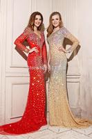 Luxury Large Rhinestone Beading Prom Dresses 2014 Long Sleeve V-Neck V-Back Sweep Train Special Occasion Dresses ..