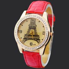 Fashion Red Eiffel Tower Lady Girls Women's Jewelry Diamond Xmas Gifts Hours Quartz Clocks Analog Wrist Watches, Free Shipping