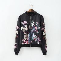 2014 New Autumn Lady Peacock Prints Cotton Blends Jackets Women Fashion Long Sleeves Coats 3050306604
