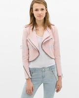 2014 new fashion Europe women fashion slim pink Double collar short Blazer coat Lady casual brand design outerwear#J369
