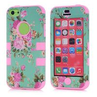 6Colors Wholesale China Luxury elegant flowers Pattern Shockproof Hybrid Combo Rugged Hard Phone Cases For Apple iPhone 5C i5C