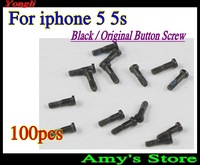 Wholesale Free shipping~100 pcs New Original Black 5 Point Star Pentagen Pentagonal Screws Buttom Screws Dock for iPhone 5 5s