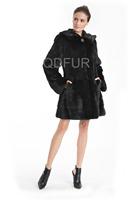 Winter Genuine Natural Sheared Mink Fur Coat Jacket With Hoody Women Fur Outerwear Plus Size Parka Lady Russia Garment QD70732