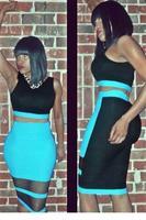 Fashion conjuntos Women Black Blue Sleeveless Hollow Out Bodycon Summer Novelty Sexy Dress Set vestido de festa 2014 apparel
