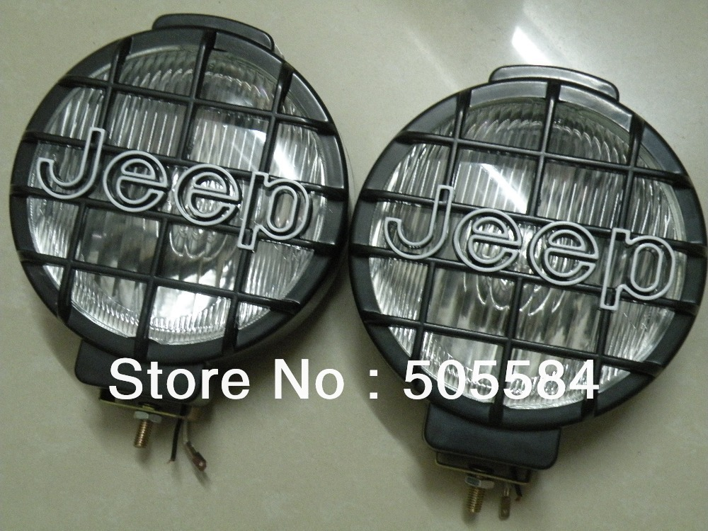 2pieces 6 inch 12v 55w Halogen Bulb Fog lamp Offroad Truck Front bumper Car Roof Head Spot light Daytime working light for JEEP(China (Mainland))