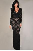 New Autumn clothing women winter vestido de festa Black Lace Long Gown Full sleeve Evening Dress LC6549 vestido longo apparel