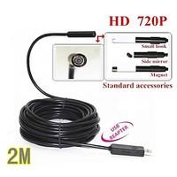 720P HD USB Endoscope Borescope Snake Mini 10mm Lens 4 LED IP67 Waterproof Inspection Camera Borescope 2M