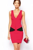 new 2014 summer dress Sleeveless Deep V Neck Patchwork Peplum Dress  Backless Dresses LC21551 Plus Size M L XL