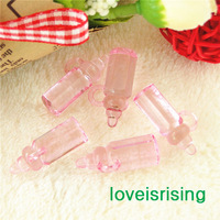 New Arrival-200pcs 28mm*11mm Pink Color Mini Acrylic Baby Bottles For Baby Shower Favors~Wedding Party Favors~Cupcake Decoration
