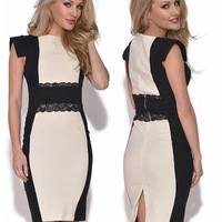 HOT SALE AND POPULAR  new chic EUROPEAN Womens Square Neck Bodycon Sleeve Stretchy Back Zipper Slimming Pencil Dress