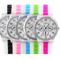 5 Colors For Choice 3 Eyes Fashion Casual Gel Jelly Quartz Wristwatch Geneva Silicone Watch Women Men