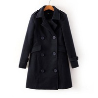 2014 New Autumn Women Elegant 3 Colors Long Sleeves Double Breasted Turn-Down Collar Slim Ladies Fashion Coats 3036103504