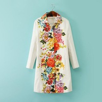 2014 New Women High Fashion Style Vintage Floral Prints Long Sleeves Turn down Collar Trench Ladies Autumn Coats 3003306502