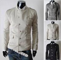 2014 Hot Sale Autumn Spring Single Breasted Stylish Jackets for Men Brand Designer Slim Fit Mandarin Collar Men's Coat