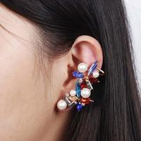 2014 Fashion Multicolor Rhinestone Ear Cuff Luxury Elegant Pearl Clip Earring For Women Stud Earrings Free shipping