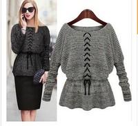 Camisola 2014 Autumn Fashion Pullovers Sweater Women Batwing Sleeve Slim Waist Lacing Belt Outwear Crochet Kint Winter Sweaters