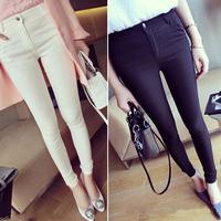 New Fashion Women Sexy Cotton Slim Pencil Pants/Casual pants/ Black/White Long Elastic Skinny Pants Trouserse 2014Autumn/Winter