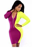 vestidos de menina Sexy Bandege V-Neck Full Sleeve Zipper Front Lime Purple Two-tone Bodycon Mini Sexy Winter Dress Women
