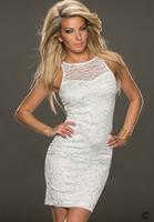 2014 Free Shipping Women Fashion Sleeveless Casual Dress New Fashion Sexy White Lace Dress