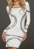 Sexy Dress Fashion Women Dress Stylish Scoop Neck Long Sleeve Bodycon Spliced Dress For Women Free Shipping