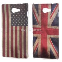 2 X Retro USA/UK Flag Design Hard Skin Cover Case For Sony Xperia M2 S50H + Free Screen