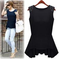 A++Blusas Femininas 2014 Fashion Rivet Desgin Blouse Shirt Women's Sleeveless Irregular Vintage Casual Camisa Flouncing Top