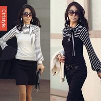 Wholesale/Retail Ctrlstyle Bow Collar Stripe Splicing OL Tops Cotton Vestidos Long Sleeve Women T-shirt+Free Shipping