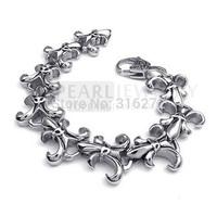 Topearl Jewelry Fleur De Lis Stainless Steel Bracelet Heavy MEB130