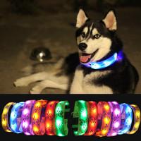 LED Flashing Lights Dog Collar Nylon