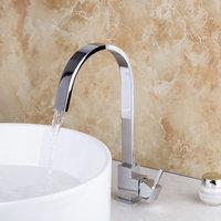 Contemporary Chrome Bathroom Faucet Deck Mounted Single Lever Bathroom Sink Tap Swivel Basin Mixer Faucet 8322