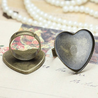 20pcs 1inch heart ring blanks, silver and antique bronze ring blanks