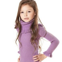7pcs/lot2014 Spring Autumn winter children sweater baby girl thickening turtleneck sweater child cotton solid cardigan for girls