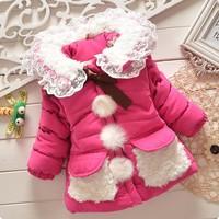 Children Outerwear Clothing Baby Girls Cute Flower Coat Korean Style Girls Coat Winter 2014 Kids Jackets and Coats