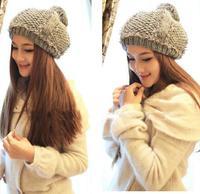 Slouchy knit hat women beanie winter hats wool winter hat beige off-white black pink elegant grey beanie with fur sewn plaid